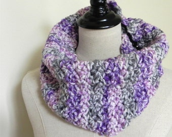 Scalloped chunky cowl is crocheted in purple, pink and sage green, infinity scarf #472, Ready to ship