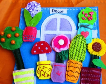 Quiet book page, busy book toy, educational toy, felt toy, soft toy, toddlers activity, Montessori cards, travel toy, Gardening, garden