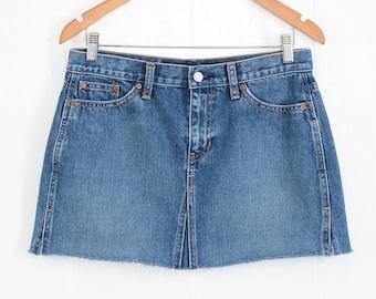 Vintage Denim Skirt High Waisted Skirt Vintage High Waist Denim Mini Skirt 90s Clothing 90s Grunge Denim Skirt Jean Skirt Mini Skirt S M