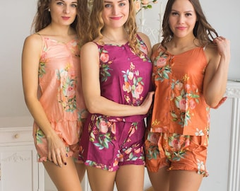 Peach, Rust and Plum Wedding Colors Pj Sets in Spaghetti style