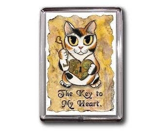 Steampunk Cat Magnet Calico Valentine Heart Key Fantasy Cat Art Framed Magnet Gifts For Cat Lovers