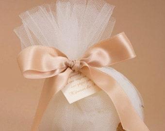 Roustic wedding favor, wedding favor bag, tulle wedding favor, bomboniera, wedding gift, bridai shower favor, μπομπονιερα γάμου