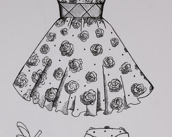 8  1/2 x 5  1/2 Party dress illustration