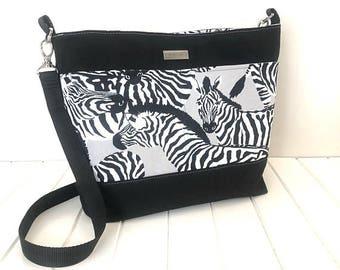 Bucket Bag, Slouch Bag, Canvas Bag, Shoulder Bag, Cross body Bag, Bucket Purse, Cross Body Purse,  Canvas Purse, Ladies Bag, Zebra Fabric