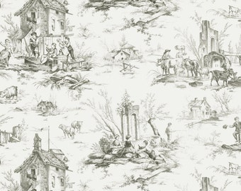 Toile Fabric - Village Garden by Kaye England for Wilmington Prints - 98589 999 Gray - Priced by the half yard