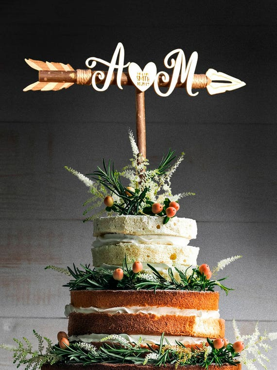 rustic wedding cake toppers canada rustic wedding arrow cake topper initials cake topper custom 19582