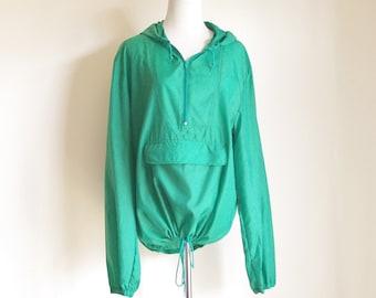 Vintage Green Jacket, Mens Jacket, Kelly Green Pullover Jacket, Nylon Jacket, 80s Jacket, Hooded Jacket, Jacket with Hood, Windbreaker