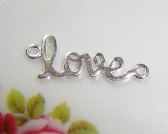LOVE, Artsy Love, Sideways Love, Sterling Silver Love Connector, Link, Pendant -1 pc - PC-0001