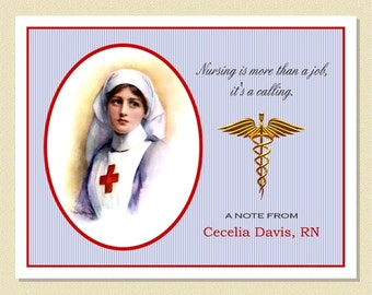 Nursing - A History Of Dedication - Personalized Note Cards (10 Folded)