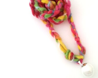 harmony ball, Maternity Bell Necklace, Rainbow Woolen Pregnancy Necklace