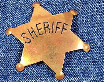 Vintage Brass Sheriff badge pin Western ware law enforcement star
