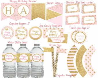 Pink and Gold Birthday party, Pink and Gold Birthday decorations, Pink and gold party package, Digital file.