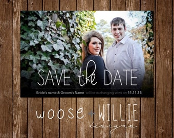 Customizable Save the Date Invitation - you provide photo - Choose Colors/Personalize - front & back