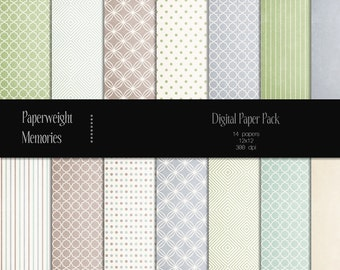 Faded Dreams - digital patterned paper - Instant Download - digital scrapbooking - green, brown, blue patterned paper - Commercial Use