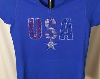 Ladies Rhinestone USA T-Shirt