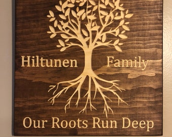 Our Roots Run Deep Customized Wood Sign