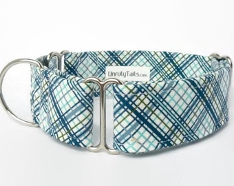 Baby Blue Plaid Dog Collar - Martingale Collar or Side Release Buckle Collar  - Shades of blue, green & gray on white