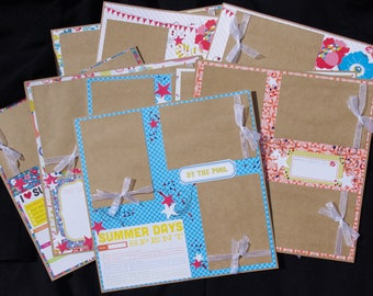 Summer 9~12x12 Premade Scrapbook Layouts By the Pool Cookouts