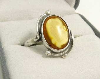 Mid Century Baltic Amber Ring Sterling 925 Milk & Honey Amber