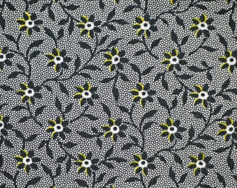 1/2 YARD, COTTON PRINT, Black Yellow Flowers Vines Leaves on Netting, Quilting or Craft Fabric, Timeless Treasures C4069, Medium Wt, B8
