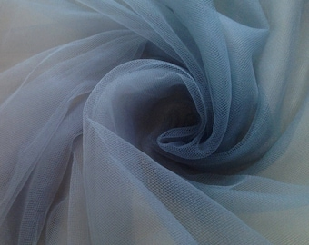 1/2 meter (50 cms) Dusty Smoky Bluish Grey Color Soft silk like tulle fabric - 2.8 METERS WIDTH