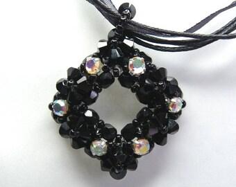 Swarovski Crystal Black White iridescent rhinestone handmade pendant gift idea