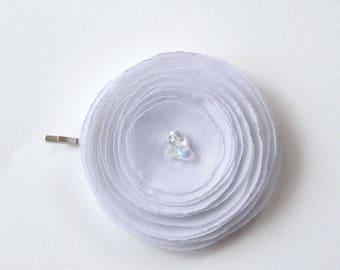 Handmade Bridal White Hair Pin, Brooch, Hair Clip, Baby snap clip