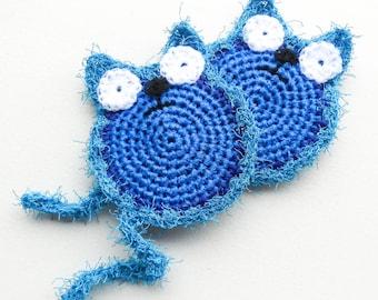 Blue Dish Scrubber - Set of 2 through 8 - Crochet Cat Scrubbie - Nylon Net Pot Scrubby
