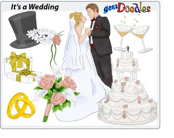 Wedding Clipart Engagement Collage Sheet Bride And Groom Cake Marriage