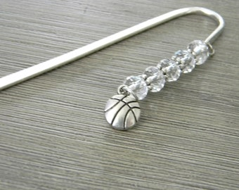 Basketball Bookmark with Clear Glass Beads Shepherd Hook Steel Bookmark Silver Color