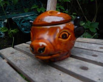 Szeiler, Studio Szeiler, Vintage Beef Dripping Pot, Made England c 1970s, Lidded Ceramic Cow, Marked Beef Dripping, Kitchen Storage,