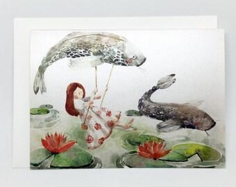 watercolor illustration handmade folded card