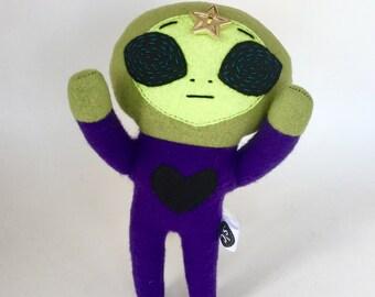 Alien Plush Stuffed Animal - Green Alien Plush - OOAK - Cute Alien - Handmade Stuffed Animal - Art Doll - UFO