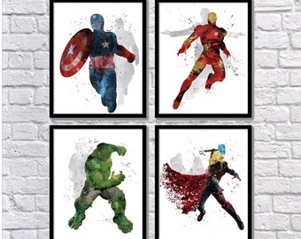 Superb Avengers Watercolor Set, Superheroes, Watercolor Art, Iron Man, Captain  America, Hulk