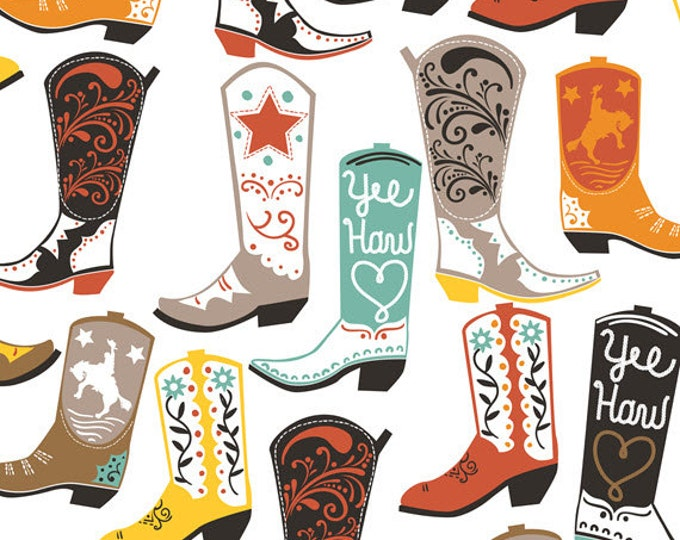 Luckie - Square Dance in White - Cowboy Boots Cotton Quilt Fabric - by Maude Asbury for Blend Fabrics - 101.115.01.1 (W3449)
