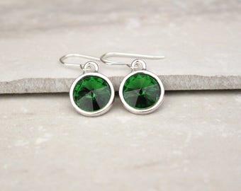 Green Crystal Rivoli Earrings, Green Swarovski earrings, Green and Silver Earrings, modern style, bridesmaid earrings, holiday earrings