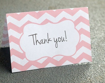 Printable chevron thank you card | Baby shower thank you note instant download | Pink and white bridal shower thank you PDF | folding card