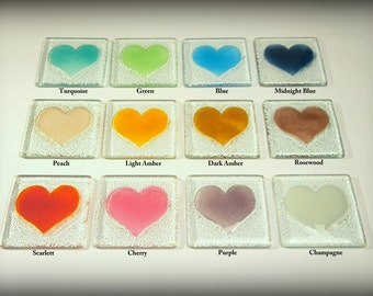 6 Heart Coasters-FREE UK SHIPPING-Set of 6 Choose the colours all different or all the same - 12 colours available - fused glass coasters