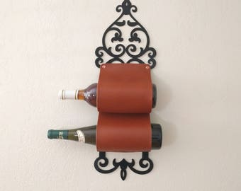 Leather and Metal Wine Rack or Wine Bottle Holder