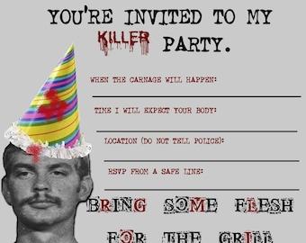 Jeffrey Dahmer party invitations, set of 8