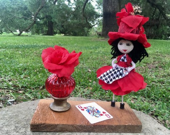 Queen of Hearts Doll/Alice in Wonderland/Floral Doll/Red flower doll/kids doll/collectible doll/unique doll/handcrafted flower doll/cards