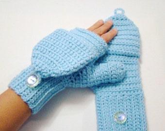 Convertible Fingerless Mittens, Light Blue Texting Mittens, Crochet Womens Flip Top Mittens, Winter Fashion, Cycling Mittens, Stylish Gloves