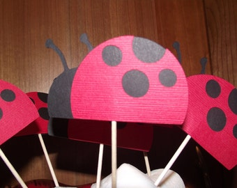 Lady bug cupcake toppers - sold as a set of 12 - bugs - love bug - Happy Birthday, Little Lady Bug