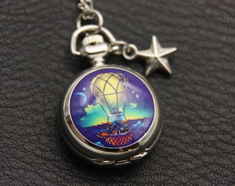 Hot air balloon Necklace, Hot air balloon watch,  (2222m)