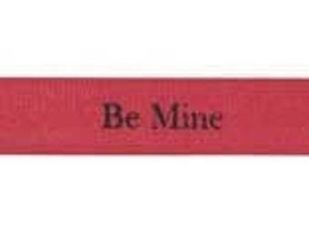 Valentines Day Love Be Mine Double Faced Satin Ribbon 2 Yards, MIDORI ribbon, Red Be Mine Double Faced Satin Ribbon