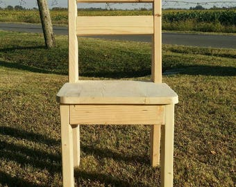 Rustic Unfinished Farmhouse Dining Pine Chair, Stocky Style