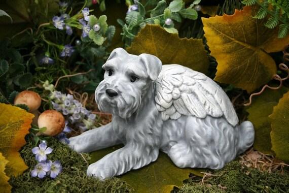 Schnauzer Dog Angel Statue Pet Memorial Garden Decor