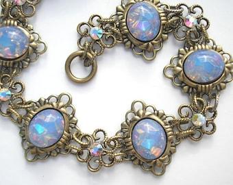 Blue Opal Poetry Bracelet- Vintage Glass Opals in Antiqued Brass