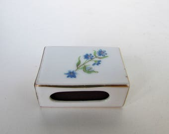 Vintage Porcelain Match Box Holder - 1 3/4 by 3/4 Marax Tablets/Syrup Ad. Matches Box