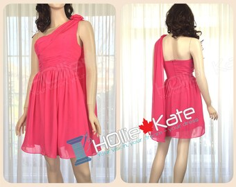 One Shoulder Fuchsia Bridesmaid Dress, Hot Pink Dress, Magenta Party Dress,